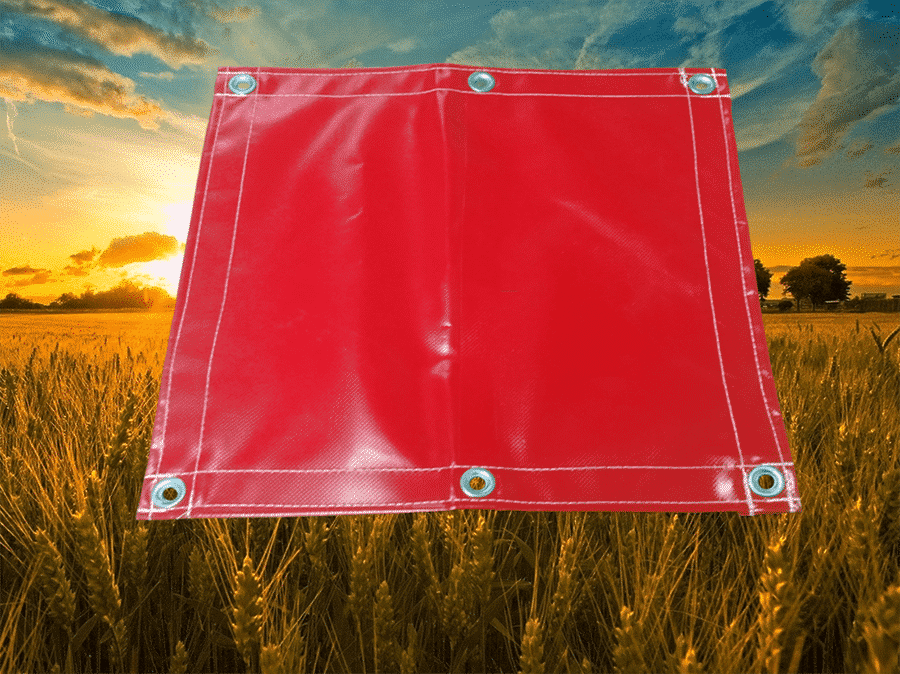 vinyl coated red farm tarp