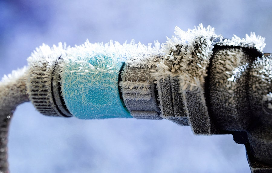 frozen pipes with ice crystals