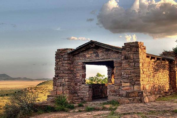 texas camping a mountain desert overlook of a stone built shelter
