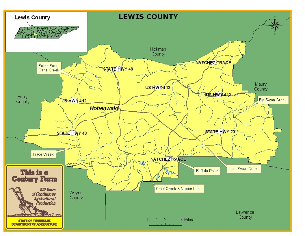 Lewis County Tennessee Map 1
