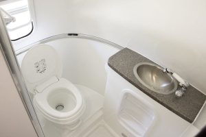 Bird View of Bathroom with Toilet, Vanity and Sink