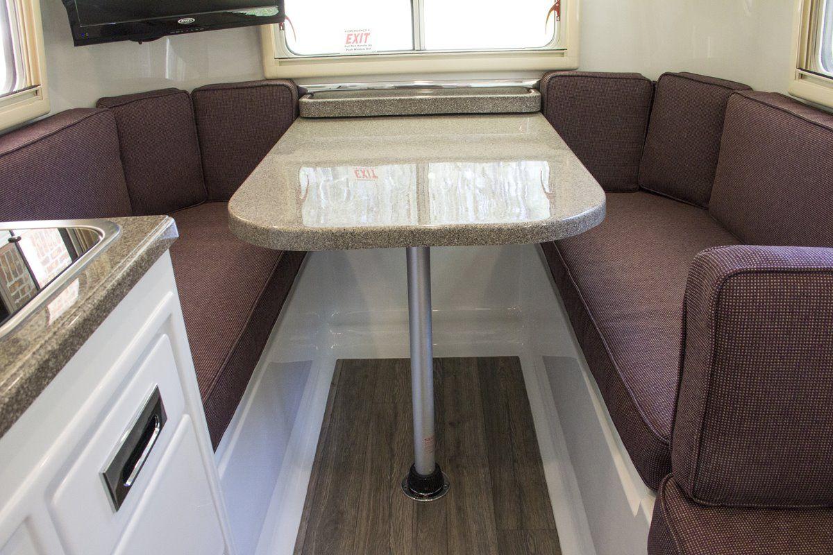 oliver travel trailers legacy elite 1 standard floor plans with fiber-granite countertops seating mode