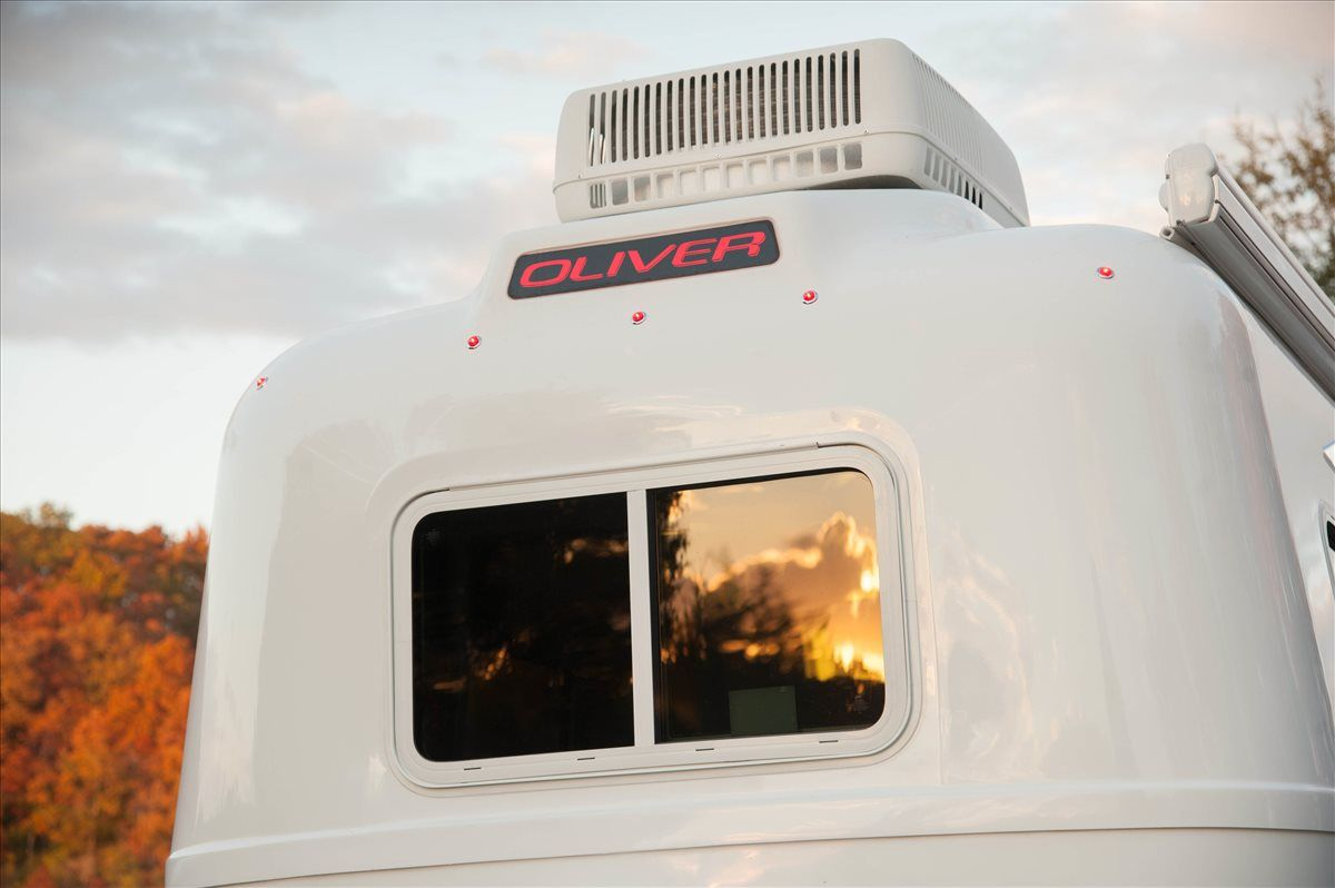 oliver travel trailers legacy elite with oliver sign and ac