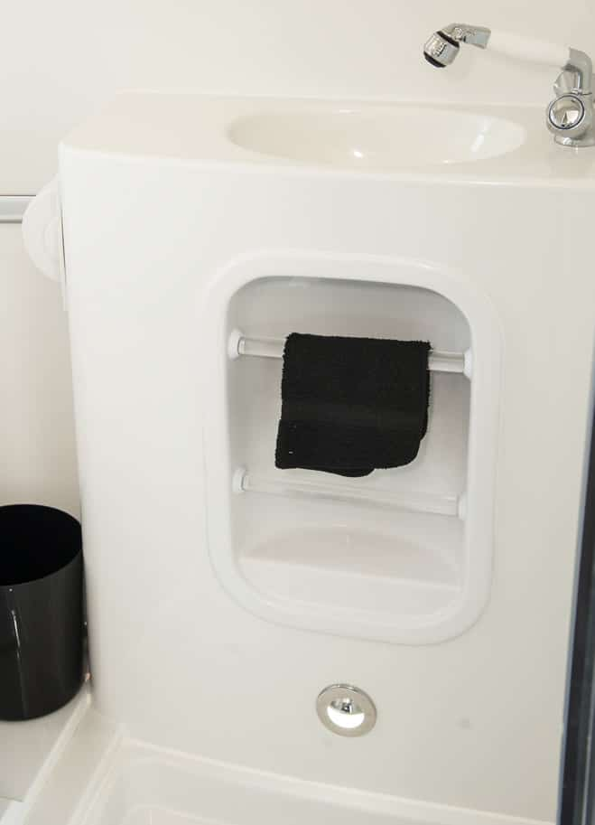 oliver travel trailers standard features bathroom molded vanity