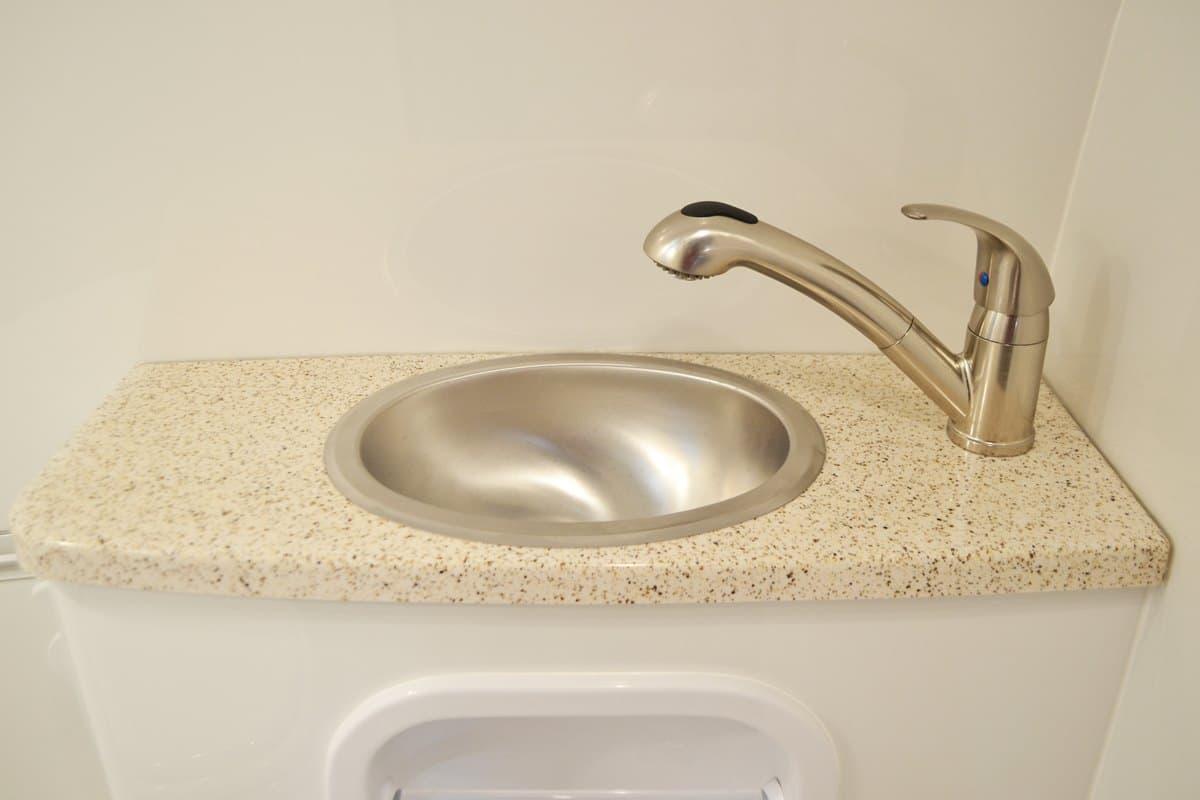 oliver travel trailers standard features bathroom vanity-fiber-granite stainless steel faucet showerhead