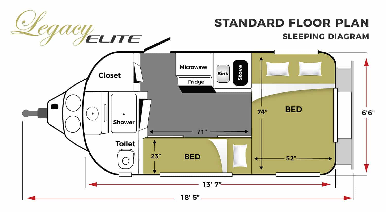 oliver travel trailers legacy elite 1 standard sleeping floor plan horizontal