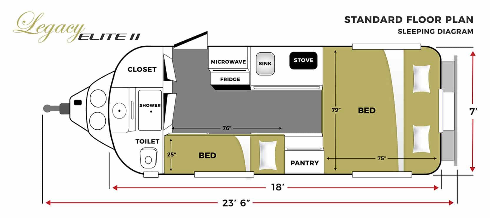 oliver travel trailers legacy elite 2 standard sleeping floor plan horizontal