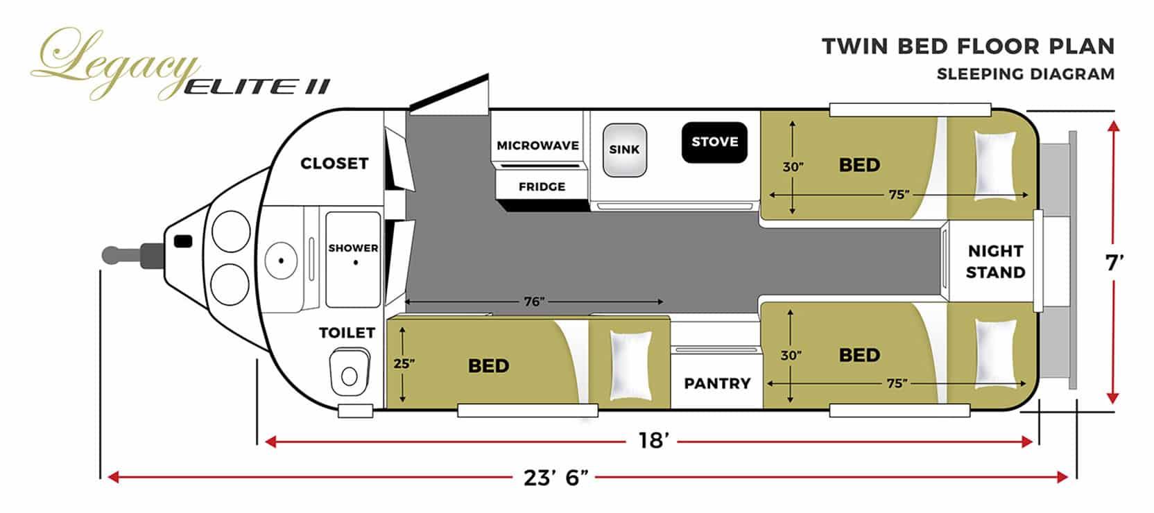 oliver travel trailers legacy elite 2 twin bed sleeping floor plan horizontal