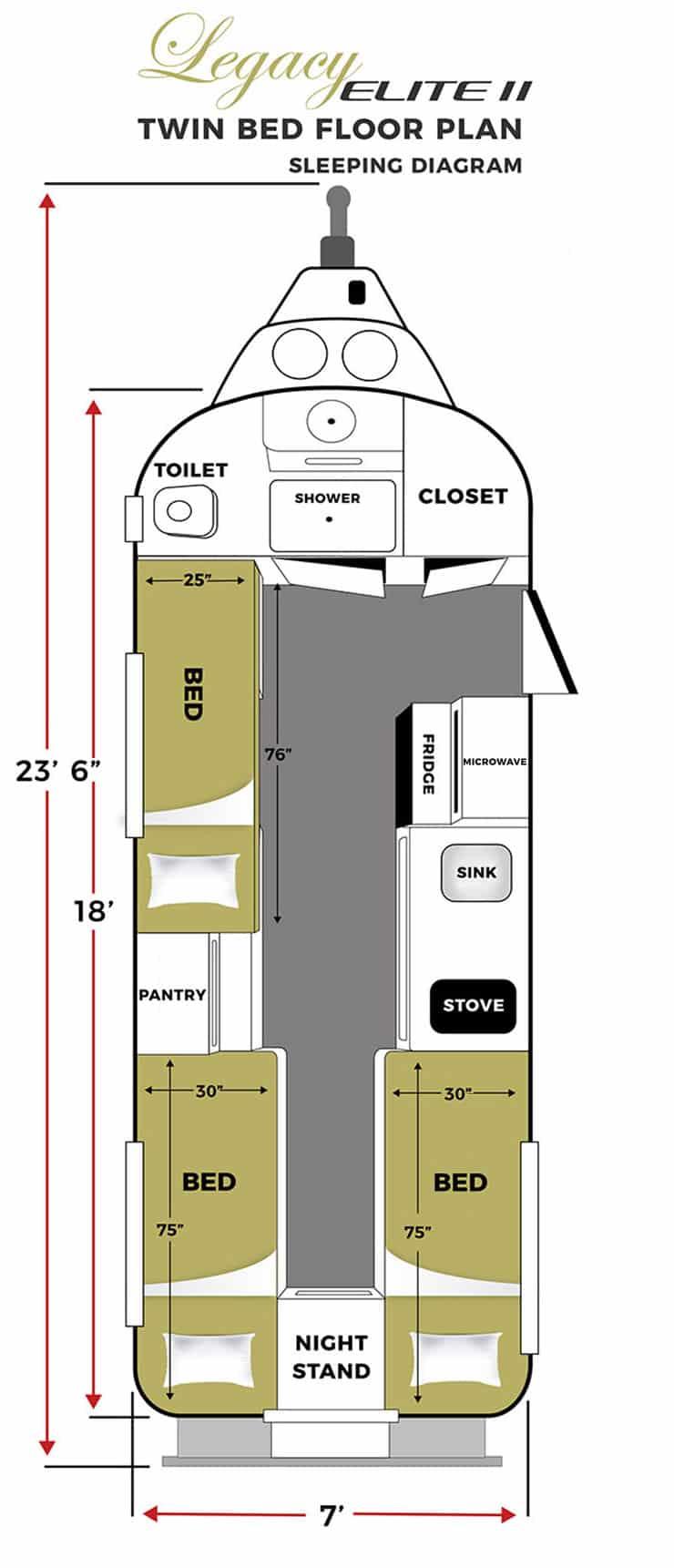oliver travel trailers legacy elite 2 twin bed sleeping floor plan vertical