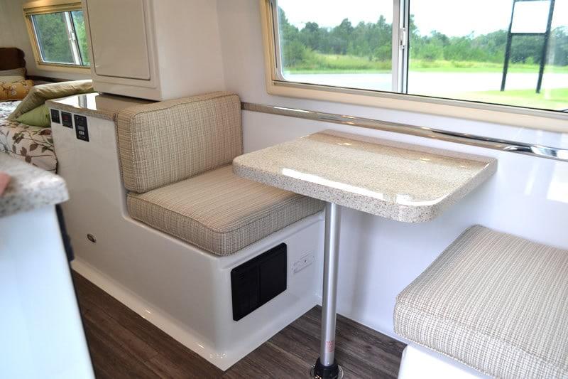 oliver travel trailers standard features side dinette fiber-granite