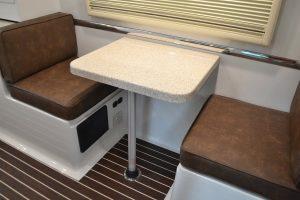 oliver travel trailers standard options side dinette with fiber-granite