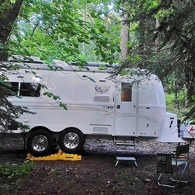 oliver travel trailers in secluded wooded area boondocking