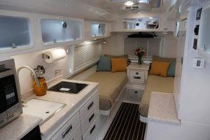 Legacy Elite II Interior Kitchen Galley, Cabinets, Twin Bed Floor Plan